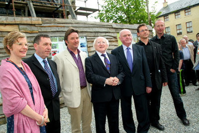 davie, ben and michael d with villagers